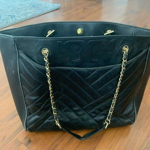 Tory Burch Black Leather Tote with Gold Chain